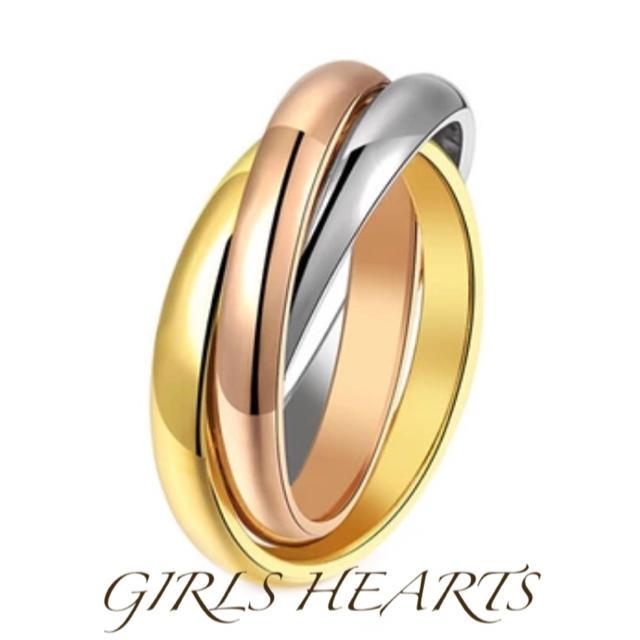 送料無料8号サージカルステンレス3色スリーカラー3連トリニティリング指輪値下げ レディースのアクセサリー(リング(指輪))の商品写真