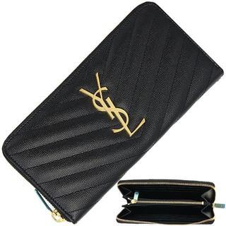 サンローラン(Saint Laurent)のサンローラン ラウンドファスナー長財布 モノグラム YSL キャビアスキン 黒(財布)