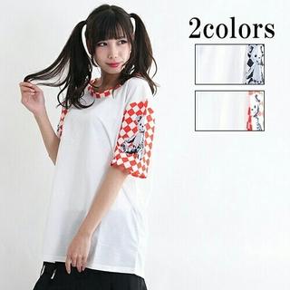 FUNKY FRUIT - 【DrugHoney】 テディxチェッカー袖切り替えTシャツ Fサイズ  赤