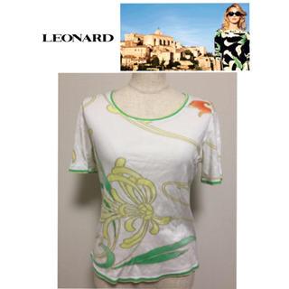 レオナール(LEONARD)のLEONARD レオナール 半袖 トップス Tシャツ カットソー 白 ホワイト(Tシャツ(半袖/袖なし))