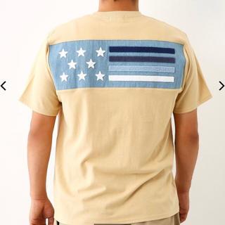 RODEO CROWNS WIDE BOWL - メンズ ブロッキング デニム フラッグ Tシャツ