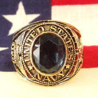 ビンテージ US NAVY 海軍 アメリカ製 ゴールドミリタリーリング(リング(指輪))