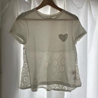 ミュベールワーク(MUVEIL WORK)のMUVEIL WORK ハートポケット バックレースTシャツ(Tシャツ(半袖/袖なし))