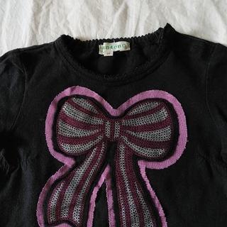 サンカンシオン(3can4on)の★3can4on リボン 黒カットソー 90cm(Tシャツ/カットソー)
