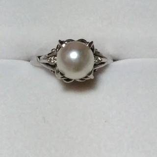 最終価格 リング  Pt850  パール ダイアモンド(リング(指輪))