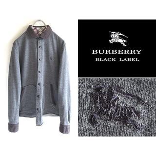 バーバリーブラックレーベル(BURBERRY BLACK LABEL)の希少 バーバリーブラックレーベル ロゴ刺繍 スウェットシャツジャケット 2(その他)