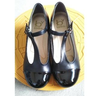 アシナガオジサン(あしながおじさん)のあしながおじさん ベルト付きパンプス 24センチ ブラック(ローファー/革靴)