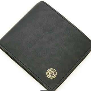 DIESEL - ディーゼル二つ折り財布♪ブラック♪牛革