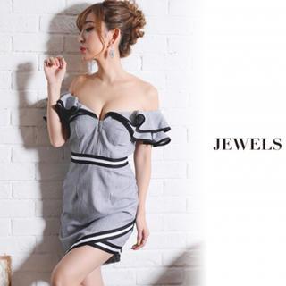ジュエルズ(JEWELS)のjewels ジュエルズ ドレス キャバ オフショル グレー ダブルフリル(ナイトドレス)