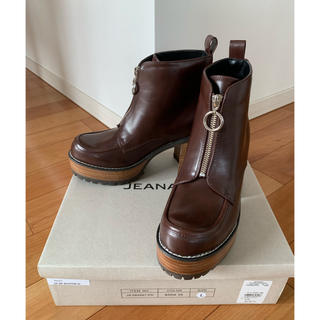 ジーナシス(JEANASIS)の新品 JEANASiS ジーナシス ジップデザインヒールブーツ ブラウンLサイズ(ブーツ)