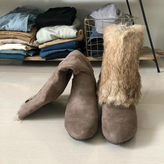 アカクラ(Akakura)の【良品】2WAYブーツ,薄ブラウン,定価40%引き,22.5cm〜23cm(ブーツ)