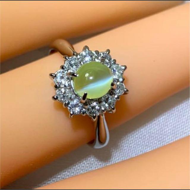 プラチナ クリソベリルキャッツアイ ダイヤモンド リング レディースのアクセサリー(リング(指輪))の商品写真