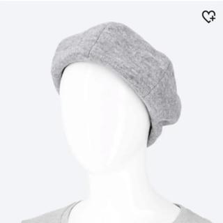 ユニクロ(UNIQLO)の【送料込】UNIQLO ウールベレー帽(グレー、サイズフリー)(ハンチング/ベレー帽)