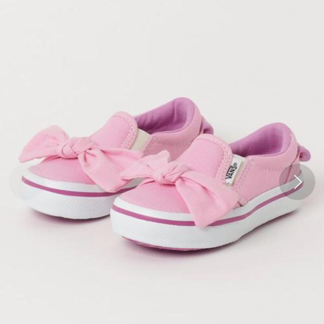 VANS(ヴァンズ)のにゃすさま キッズ スニーカー 17センチ VANS ピンク リボン付き キッズ/ベビー/マタニティのキッズ靴/シューズ (15cm~)(スニーカー)の商品写真