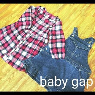 ベビーギャップ(babyGAP)のbaby gap 90 長袖シャツワンピース チェック柄 デニムワンピ セット(ワンピース)