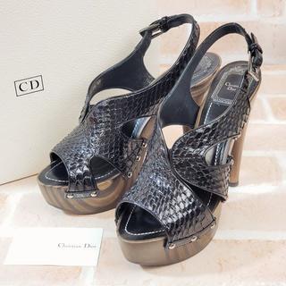 クリスチャンディオール(Christian Dior)の美品 ディオール ☆ パイソンレザー サンダル ブラック 37 伊製(サンダル)
