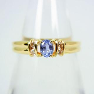 K18 サファイア ダイヤモンド リング 9号 [f52-12](リング(指輪))