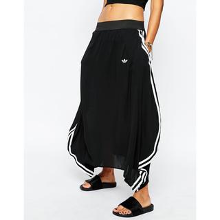 アディダス(adidas)のadidas originals シースルーロングスカート ブラック×ホワイト(ロングスカート)