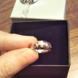 k14 ダイヤモンドクロスリング ピンキーリング5.5号(リング(指輪))