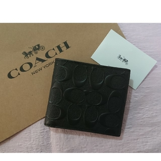COACH - プレゼントにも最適❗コーチ二つ折り財布  ブラック