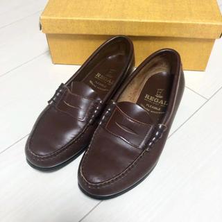 リーガル(REGAL)の美品!定価22000円 リーガル 22.5 本革 日本製 ブラウン 革靴(ローファー/革靴)