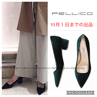 PELLICO - 【新品未使用】ベロアローヒールパンプス グリーン Plage
