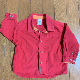 ベビーギャップ(babyGAP)のbaby GAP サイズ 12-18 赤 綿 長袖ブラウス(ブラウス)