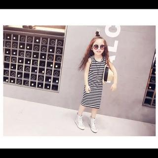 SALE「110cm」韓国子供服 ボーダー柄 シンプル ワンピース(ワンピース)