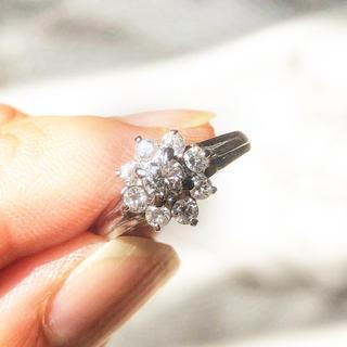 週末セール!鑑別書付き 0.5ct Pt900 ダイヤモンドリング(リング(指輪))