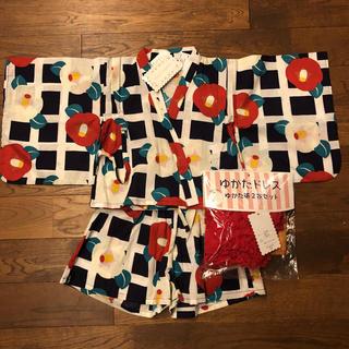 フタフタ(futafuta)の新品タグ付き!ドレス甚平浴衣90 帯2本付き(甚平/浴衣)