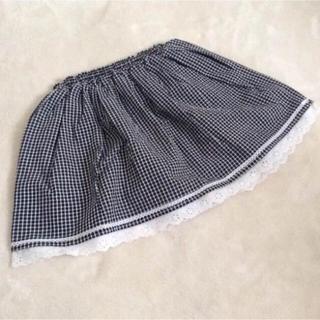 ミキハウス(mikihouse)の【新品未使用】ブラックのチェックスカート 120cm(スカート)