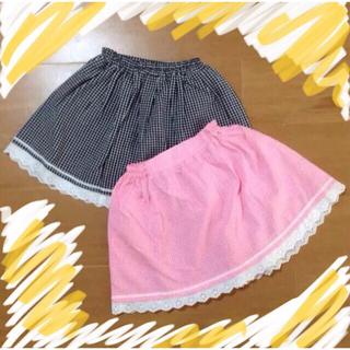 ミキハウス(mikihouse)の【新品未使用】ブラック&ピンクセット チェックスカート(スカート)