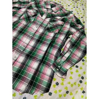 ②チェックシャツ 緑 ピンク シャツ ハーレー クイックシルバー VANS GU(シャツ)