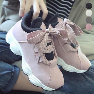 ♥ スニーカー シューズ 厚底 靴 韓国 ローカット レースアップ 美脚(スニーカー)