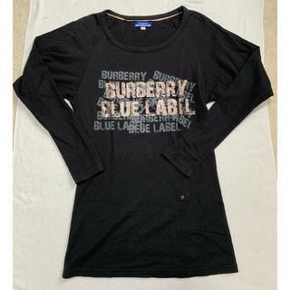 バーバリーブルーレーベル(BURBERRY BLUE LABEL)のバーバリー ブルーレーベル プリント 長袖Tシャツ ロンT 38 黒(Tシャツ(長袖/七分))