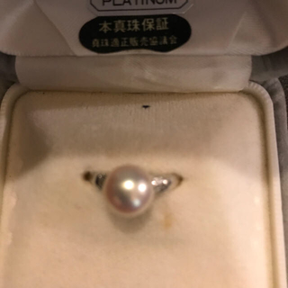 本真珠ダイヤ入りプラチナ900ダイヤ入りです(リング(指輪))