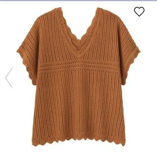 ジーユー(GU)のGU☆XS☆透かし編みVネックセーター(カットソー(半袖/袖なし))