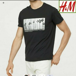 エイチアンドエム(H&M)の★新品 H&M  薄手プリントT ブラック(Tシャツ/カットソー(半袖/袖なし))