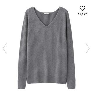 GU - GU ワイドリブVネックセーター M