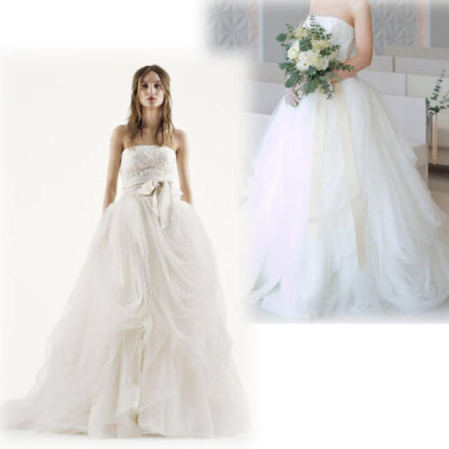 Vera Wang(ヴェラウォン)の【値下中】White by vera wangチュールウェディングドレス US2 レディースのフォーマル/ドレス(ウェディングドレス)の商品写真