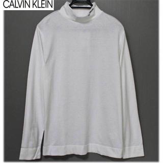 カルバンクライン(Calvin Klein)の《カルバンクライン》新品 ロゴ入り モックネック カットソー ホワイト Lサイズ(Tシャツ/カットソー(七分/長袖))