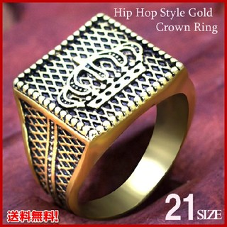 ♣ヒップホップ クラウンリング ヴィンテージパンク バイカーシグネットリング(リング(指輪))