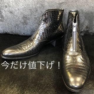 サンローラン(Saint Laurent)の最新作!受注生産品!極美品!Bennu 型押しクロコ フロントジップブーツ 黒(ブーツ)