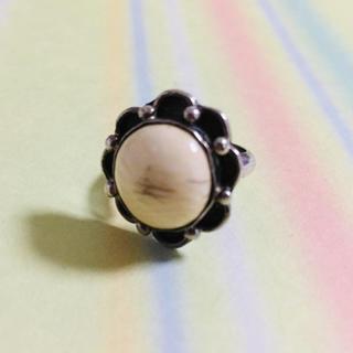 フリーサイズ シルバー925 リング 象牙? 天然石 (リング(指輪))