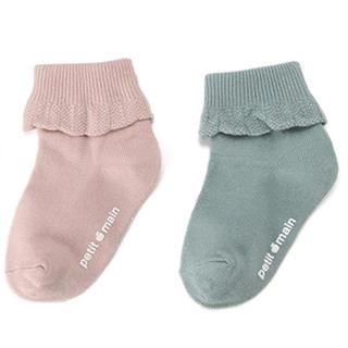 petit main - petit main  プティマイン 靴下 2Pセット ピンク グリーン