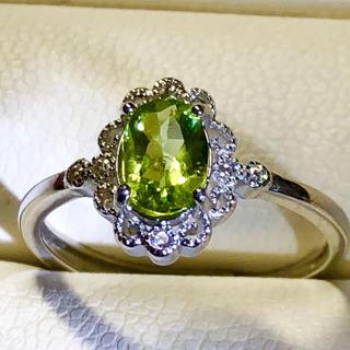 上質なペリドット、8月誕生石シルバー925リング‼️👍(リング(指輪))
