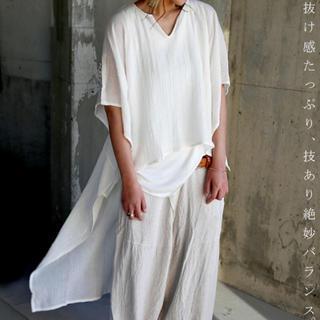 アンティカ(antiqua)のantiqua 裾長 白 半袖シャツ(シャツ/ブラウス(半袖/袖なし))