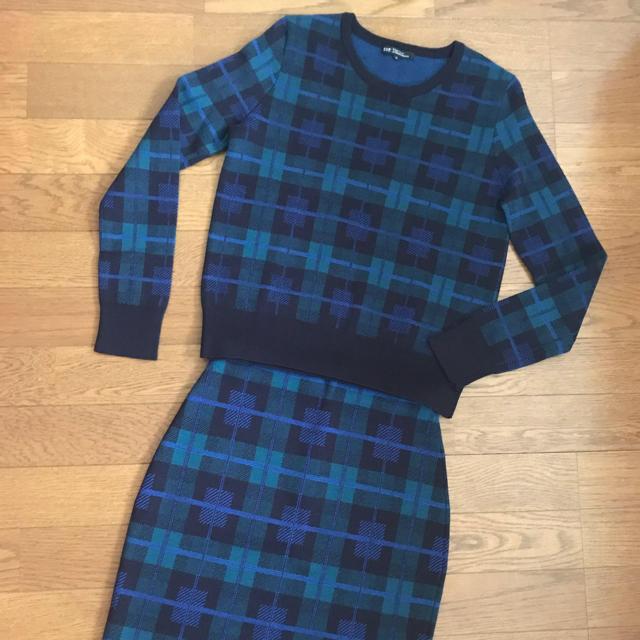 23区(ニジュウサンク)の23区小さいサイズ  チェックニットセット レディースのスカート(ひざ丈スカート)の商品写真