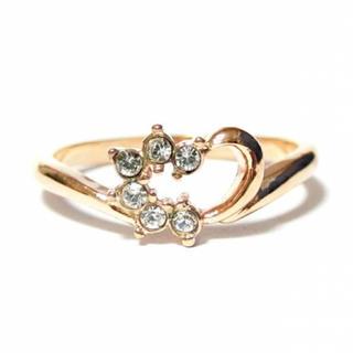 11号 ハート スワロフスキー ピンクゴールドリング(リング(指輪))
