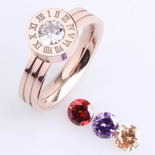 スワロフスキー4石ステレス指輪(リング(指輪))